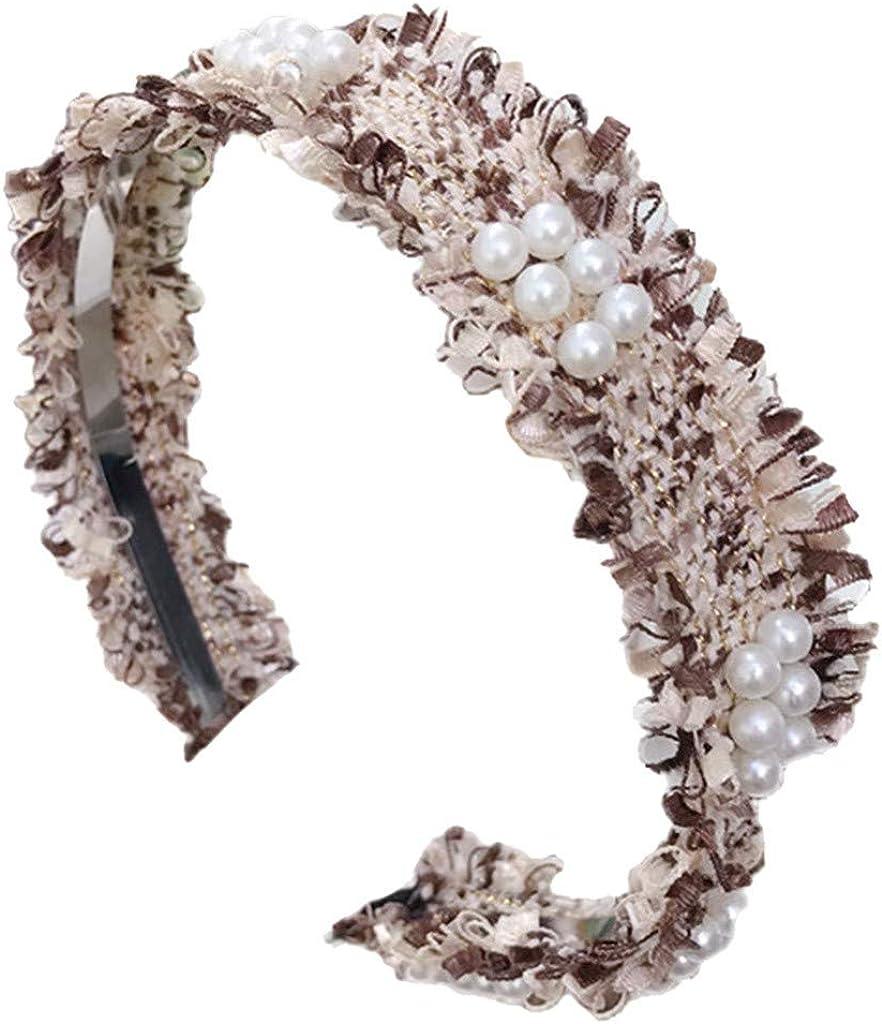 LARNOR Women Pearl Headband Fabric Hairband Head Wrap Hair Band Accessories