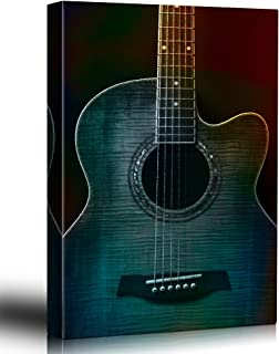 wall26 - Colorful Guitar Painterly on Black - Beautiful Detail of Acoustic Guitar - Six String - Canvas Art Home Decor - 24x36 inches