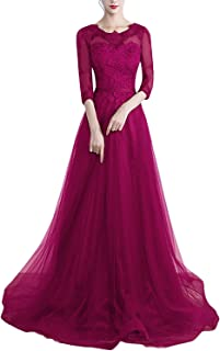 Women's Round Neck Half Sleeve Lace Bridesmaid Dress Long Prom Evening GownSA170