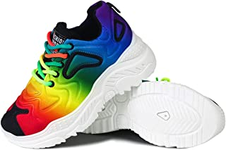 Erocalli Women's Walking Shoes Lace Up Sneakers - Comfortable Inside Cushion Ladies Girls Modern Daddy Shoes Colorful Rainbow Platform Loafers
