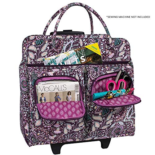 Everything Mary Deluxe Portable Rolling Sewing Machine Case, Purple Floral - Carrying Travel Tote Bag for Brother, Singer, & Most Machines - Storage Cart Caddy with Wheels for Supplies & Accessories