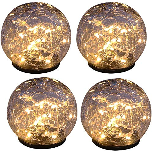 Sunjiaxingzd Solarlampe Garten, Ball Design IP54 wasserdicht Patio Erdspieß Leuchten warmes Licht 7.5cm * 9cm (Transparent) Solarleuchten für Garten