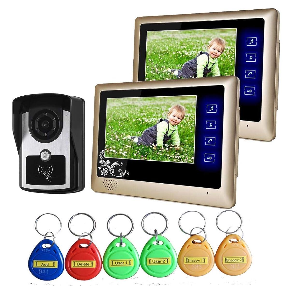 黒板適応する土ビデオインターホンドアベル、ケーブル付きビデオドアベル、7インチドアベルのアクセス管理システム、IDカードと室内装置のロック解除、防水ナイトビジョン、ファミリー/ヴィラ用,B