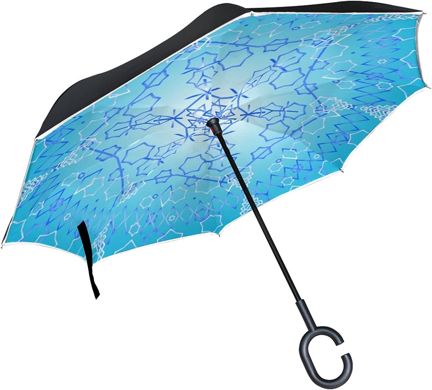 Double Layer Ingreened Design Winter Snowflake Decoration Holiday Snow Umbrellas Reverse Folding Umbrella Windproof Uv Predection Big Straight Umbrella for Car Rain Outdoor with CShaped Handle