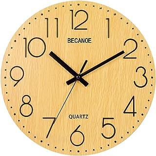 BECANOE 壁掛け時計 天然木 連続秒針 アナログ クロック 掛け時計 木製 サイレント 木彫り インテリア
