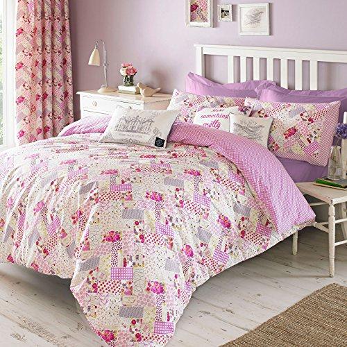 Gracie Patchwork Bettbezug, Baumwolle, Bettwäsche-Set von Designer Kirstie Allsopp Berry Lila Pink Grün Eltern, 100 % Baumwolle, Berry Pink Purple Green, Doppelbett