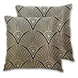 Cushion Covers Pack of 2 Cushion Covers Throw Pillow Cases Shells for Couch Sofa Home Decor Golden Art Deco Pattern 45cm x 45cm