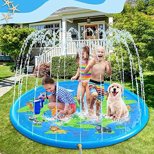 Splash Pad 170cm, VOLADOR Juego de Salpicaduras y Salpicaduras, Aspersor de Juego, Jardín de Verano Juguete Acuático, Tapete de Aprendizaje para Salpicar con Rociadores para Actividades al Aire Libre