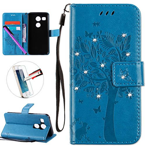 LG Nexus 5X Case, ISADENSER PU Leather Wallet Book Shell Luxury 3D Handmade Shine Diamond Embossing Tree Cat Butterfly Pattern Flip Protective Cover Case for LG Google Nexus 5X- Blue Wish Tree
