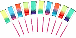 AITIME 10 Pieces 2 Meters Gym Gymnastics Dance Ribbons,Rainbow Dancer Ribbons with Twirling Wands for Kids Dancing,CE and EN71 Approved, Starry Sky Colors