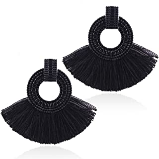 Solememo Bohemian Retro Geometric Open Textured Hollow Circle Stud with Silky Thread Tassel Statement Earring for Women