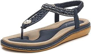 HPLY Women's Bohemia Peep Toe T-Strap Sandals Summer Casual Beach Flats Flip Flops