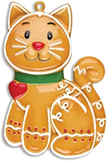 Personalized Gingerbread Cat Christmas Tree Ornament 2019 - Garnished Kitty Cookie Heart Collar Tradition Breed Neutral Pet Purr Friend Fur-Ever Aww Good Kat Faithful Gift Year - Free Customization