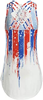 4th of July Womens Loose Blouse Moms Pregnant Maternity Sleeveless Lace Breathable Tops American Flag Printing Clothes Vest