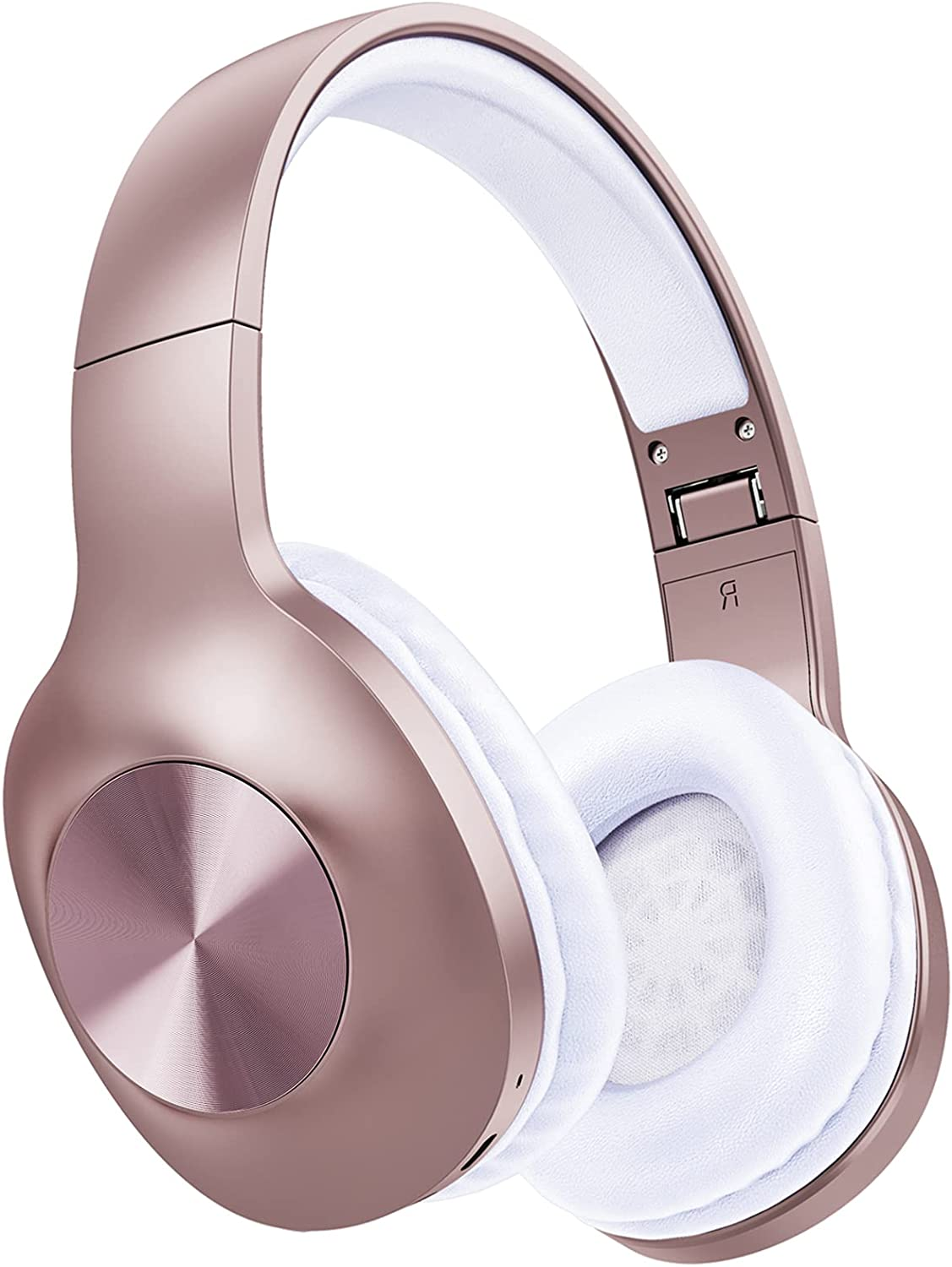 Bluetooth Headphones Foldable Wireless, 100 Hours Playtime Over Ear Headphones with Deep Bass, Hi-Fi Sound Wired/Wireless Headset Soft Ear Cups Built-in Mic for Home Office Travel Rosegold