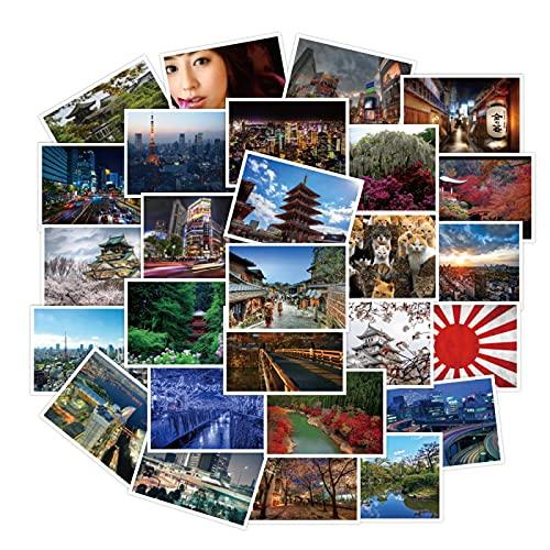 YOUKU Pegatinas para Maletas con Paisaje japonés Monte Fuji, Pegatinas para Maletas de Marca Tide, Pegatinas para Guitarra y teléfono, Impermeables, 30 Hojas