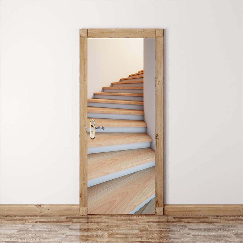 Fymural Door Stickers Wall Paper - Wooden Stairs 3D Door Decals Murals Wall Art PVC Door Cover Decoration for Home Fantasy Decor 30.3