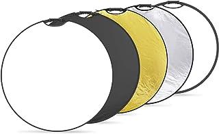 Neewer 5 in 1 tragbare runde 110cm Lichtreflektor Klapp Multi Scheibe mit Griff und Tasche für Studiofotografie Beleuchtung und Außenbeleuchtung Gold/Silber/Weiß/Schwarz/Durchscheinend