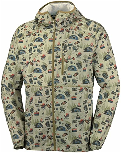 Columbia Homme Veste Coupe-vent Imperméable, FLASH FORWARD PRINTED, Polyester, Beige (British Tan) Camper Convo, Taille: S, KO3974