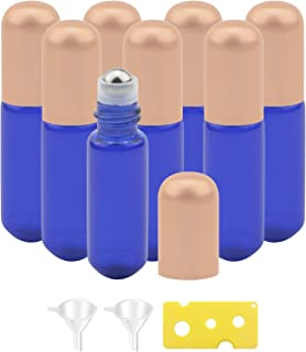 jiuwu 5ml 8 Pack Essential Oil Glass Roller Bottle with Stainless Steel Roller Balls Blue Perfume Aromatherapy Oils Portab...