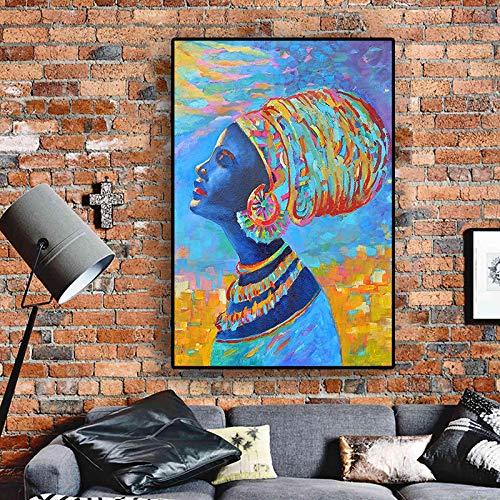 SADHAF portret van het abstracte olieverfschilderij van de Afrikaanse vrouwen op straatkunstposter van het canvas en wanddecoratie van de woonkamer 60x90cm (kein Rahmen) A5