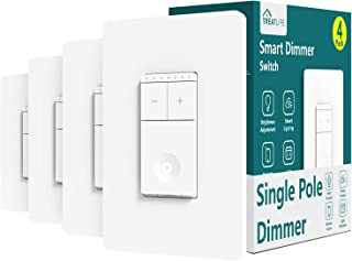 Treatlife Smart Dimmer Switch, Neutral Wire Needed, 2.4Ghz Wi-Fi Light Switch, Compatible with Alexa and Google Assistant, Schedule, Remote Control, FCC Listed, Single Pole (4 Pack)