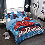 EU-VV Juego De Fundas Nórdicas Sin Hierro King Size -Spiderman - 3 Fotos Juegos De Fundas De Edredón De Microfibra Hipoalergénica Ultra Suave ((180x220 cm)-Cama de 105/135,Héroe 02)