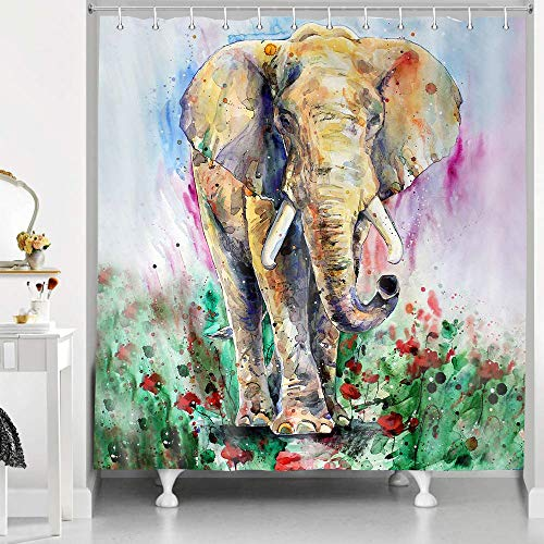 RHDORH Elephant Shower Curtain Watercolor Animals Rustic Farmhouse Psychedelic Blooming Rose Garden Modern Abstract Art Polyester Fabric Bath Curtain Set with Hooks 72x72In YLLMDO106