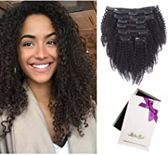 Afro Kinky Curly Clip In Human Hair Extensions, 100% Virgin Hair Extensions African American 4C Kinky Curlys Clip in Extensions For Black Women (#1b natural color,128gram/set,20inch)