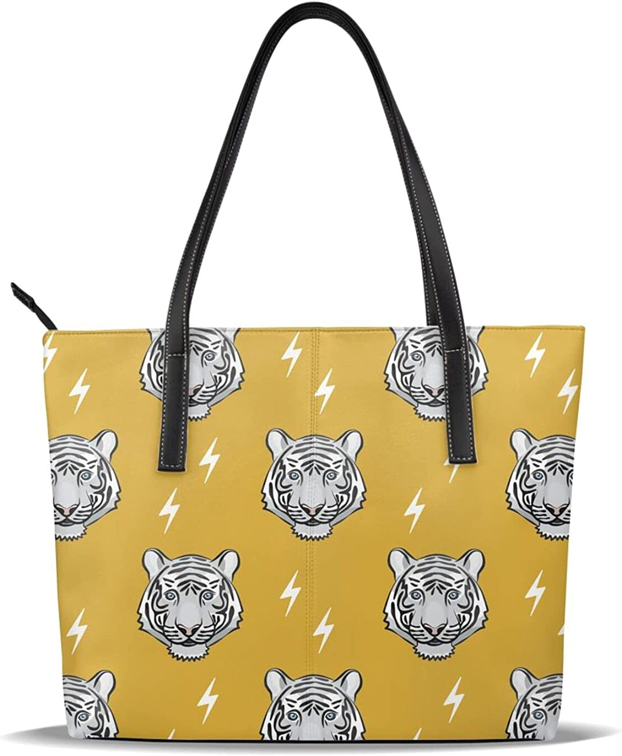 Animal Tiger Pattern Yellow White Cute Leather Head Free shipping on posting reviews New Shipping Free Shipping P Printed Pu