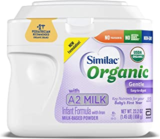 Similac Organic with A2 Milk Infant Formula, Gentle and Easy to Digest, with Key Nutrients for Baby's First Year, No Palm Olein Oil, Non-GMO Baby Formula Powder, 23.2-oz Tub (Packaging May Vary)