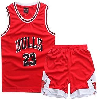 Sokaly Niños Chicago Bulls Jorden # 23 Curry#30 James#23 Conjunto de Camiseta de Baloncesto Chaleco & Pantalones Cortos Cómodo para Chicos Y Hombres