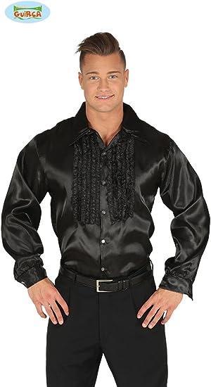 FIESTAS GUIRCA Camisa de Color Negro con Volantes de Disco 70 ...