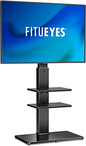 FITUEYES Floor TV Stand 3 Shelves for 32-70 Inch TV, Swivel 60 Degrees 6 Level Height Adjustable with Cable Managemen...