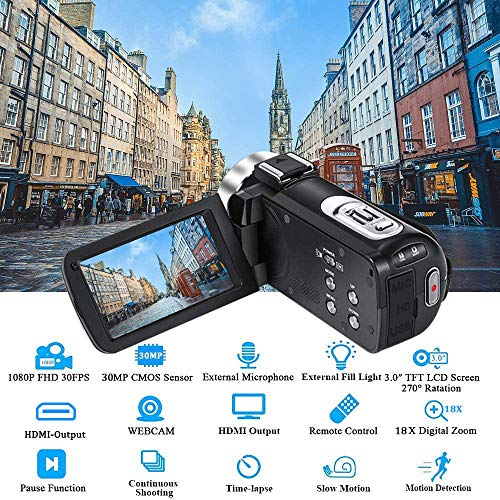 "FHD Video Camera Recorder, 1080P 30.0 Mega Pixels High Definition Camcorder, 18X Digital Zoom 3.0"" IPS Screen for YouTube Vlogging Camera(2 Batteries included)"