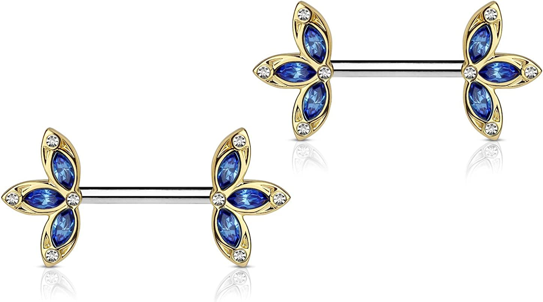 Forbidden Body Jewelry 14G Surgical Steel & Gold IP Plated 15mm CZ Gem-Set Flower Petal Nipple Piercing Barbell Set