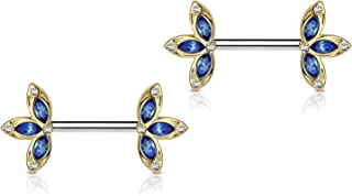 14G Surgical Steel & Gold IP Plated 15mm CZ Gem-Set Flower Petal Nipple Piercing Barbell Set