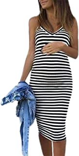 Forthery Maternity Dress,Hot Sales Sleeveless Striped Print Breastfeeding Sundress Pregnancy Summer Dress