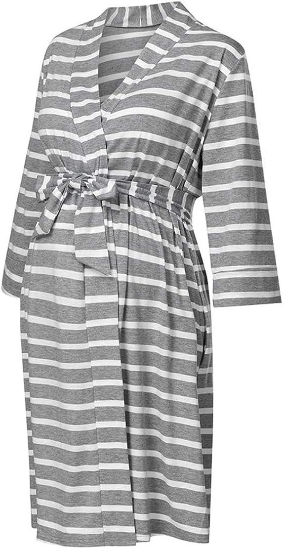 Ropa para Dormir para Premamá Camisón Lactancia Invierno Otoño Pijama Embarazada Poliéster Hospital Camisones Maternidad Vestido Premama Rayas Bata