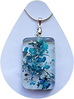 Crystal Turquoise Pendant Necklace with Orgone