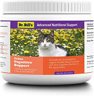 Dr. Bills Feline Cognitive Support | Pet Supplement |Cognitive Dysfunction |Includes Phosphatidylcholine,