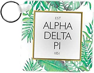 Alpha Delta Pi Floral Tile Keychain