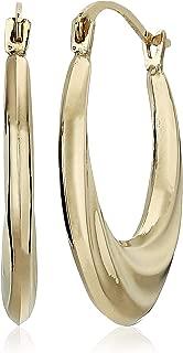 MCS Jewelry 14 Karat Yellow Gold Horseshoe Swirl Hoop Earrings, 20mm