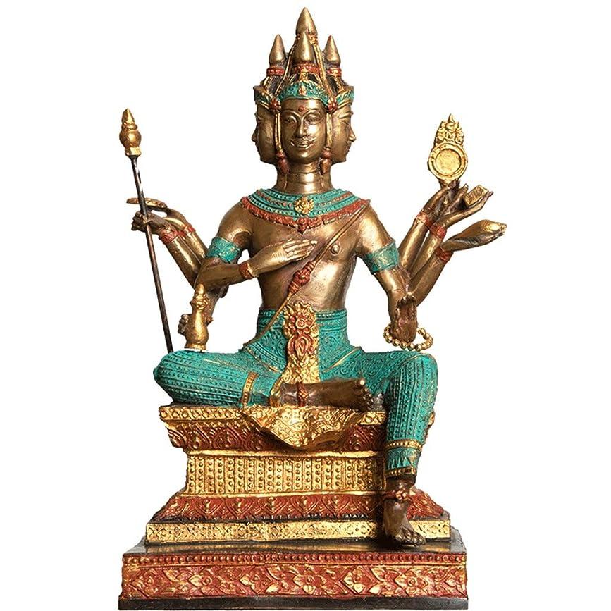 機知に富んだ出版ジャムタイ仏像、ホーム四面仏像、仏教寺院用品、ラッキースピリット、15.5×13.5×27cm LIUXIN