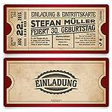 Einladungskarten zum Geburtstag (40 Stück) als Eintrittskarte im Vintage Ticket Look in Rot