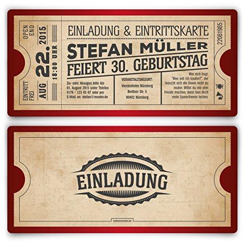 Einladungskarten zum Geburtstag (50 Stück) als Eintrittskarte im Vintage Ticket Look in Rot
