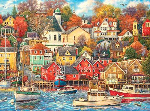 Bdgjln Puzzle 1000 Piezas-Hermoso Puerto-IlustracionesdeJuegosdeRompecabezasparaAdultos,Adolescentes,RompecabezasdePisodeImpresióndeAltaDefinición-50x75cm