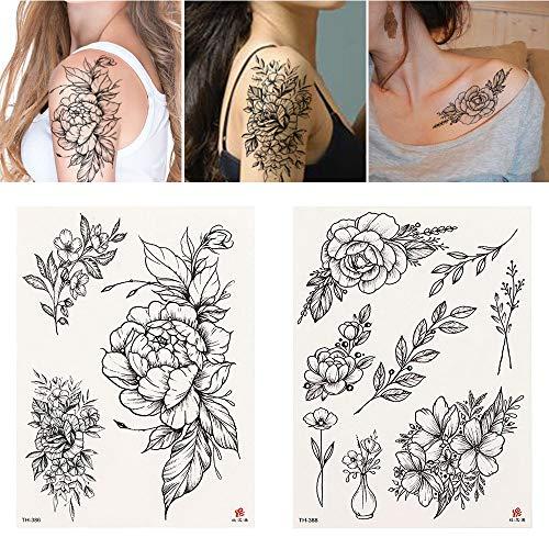 4Pcs Fleur Noire Tatouage Tatouage Temporaire Transfert D'Eau Tatouage Autocollant Pivoine Rose Tatouages