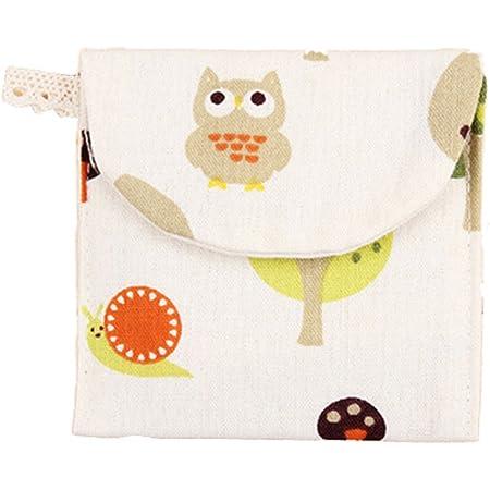 Bigoba, borsetta porta assorbente igienico, per donne e ragazze, in mix di cotoni. Organizzatore porta assorbente sanitario, piccola borsetta per trucco, portamonete, color bianco White