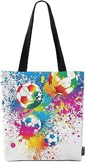 Moslion Football Tote Bag Sports Passion Rainbow Color Soccer Balls Doodle Blot Polka Dot Canvas Bag Large Shoulder Handba...